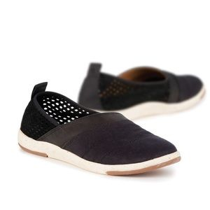 EMU Meroo Black Leather Perforated Slip On Shoes